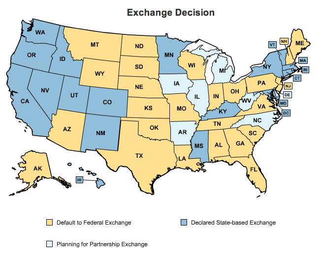 insurance exchanges per state