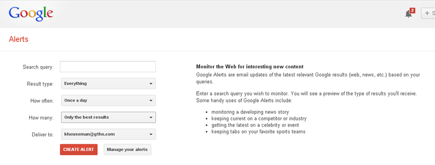How to set up a Google Alert