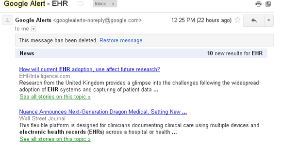 Google Alert email preview